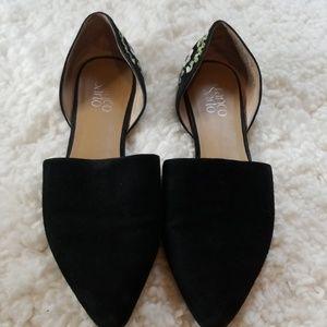 Franco Sarto Black Suede Floral Heel Flats